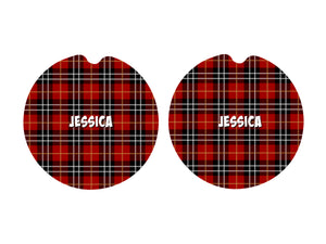 Plaid Car Coasters, Set of 2, Ceramic, Red Plaid, Rustic Car Coasters, Sandstone Car Coaster, Car Coasters, Vehicle, New Car, Car Gift