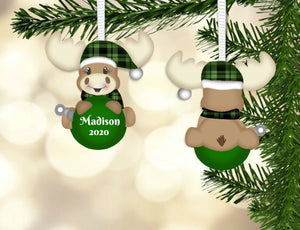 Green Plaid Moose Christmas Ornament, Personalized, Moose Gift, Moose Ornament, Name Ornament, Ornament for Kids, Moose, Holiday Ornament