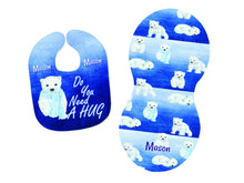 Load image into Gallery viewer, Personalized Polar Bear Bib and Burp Cloth Set - Blue and White - Newborn, Baby, Baby Shower Gift, Bib with Name, New Baby Gift, Bear Gift