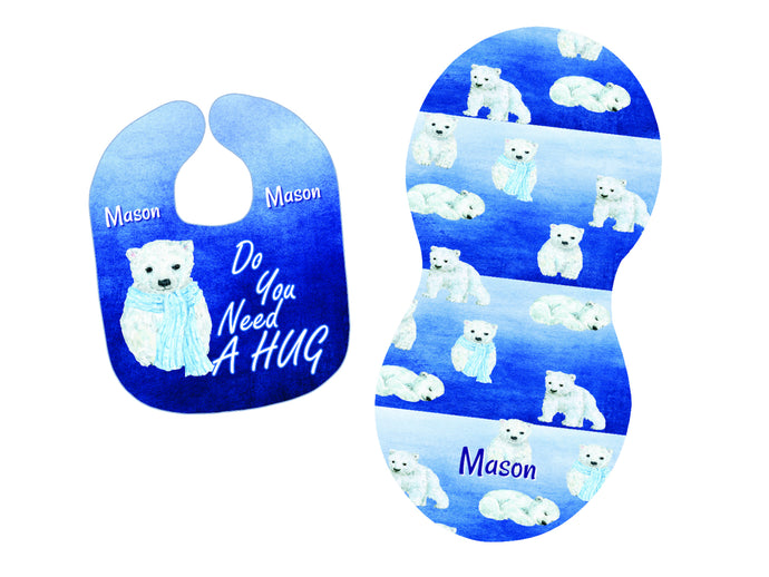 Personalized Polar Bear Bib and Burp Cloth Set - Blue and White - Newborn, Baby, Baby Shower Gift, Bib with Name, New Baby Gift, Bear Gift