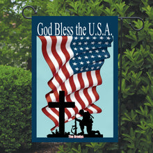 Load image into Gallery viewer, Patriotic Garden Flag Personalized, God Bless the USA Garden Flag, Red White and Blue Flag, Holiday Yard Flag, American Flag Decor