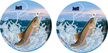 Load image into Gallery viewer, Rainbow Trout Fishing Ceramic Car Coasters, Personalized, Set of 2, Trout Coaster, Car Coasters for Men, Fish Coaster, Gift for Fisherman