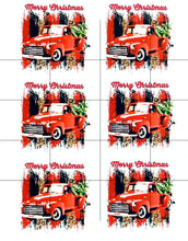 Load image into Gallery viewer, Ready to Press Red Christmas Truck Sublimation Transfer, Printed Sub Image