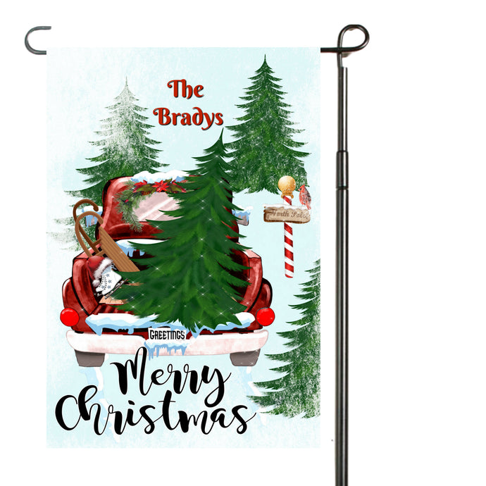 Red Christmas Truck Garden Flag, Personalized Garden Flag, Christmas Garden Flag, Family Gift, Custom Garden Flag, Christmas Decor