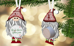 Red Gnome Coffee/Hot Cocoa Pod Holder Ornament, Personalized, Gnome Gift, Teacher Gift, Gift for Neighbors, Secret Santa, Co-worker Gift