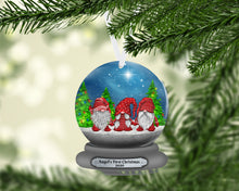 Load image into Gallery viewer, Gnome Snow Globe Christmas Ornament, Personalized, Gnomes, Gnomes Name Ornament, Custom Christmas, Gift for Mom, Family Gift, Kids Ornament