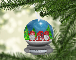 Gnome Snow Globe Christmas Ornament, Personalized, Gnomes, Gnomes Name Ornament, Custom Christmas, Gift for Mom, Family Gift, Kids Ornament