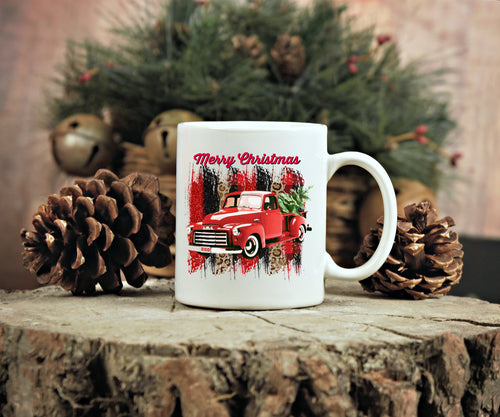 Ready to Press Red Christmas Truck Sublimation Transfer, Printed Sub Image