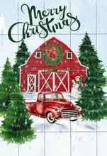Load image into Gallery viewer, Red Christmas Truck Barn Garden Flag, Personalized Garden Flag, Christmas Garden Flag, Family Gift, Custom Garden Flag, Christmas Decor