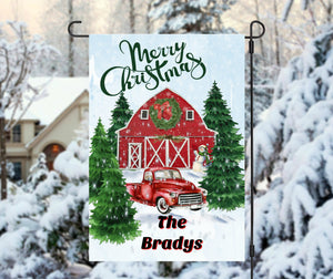 Red Christmas Truck Barn Garden Flag, Personalized Garden Flag, Christmas Garden Flag, Family Gift, Custom Garden Flag, Christmas Decor