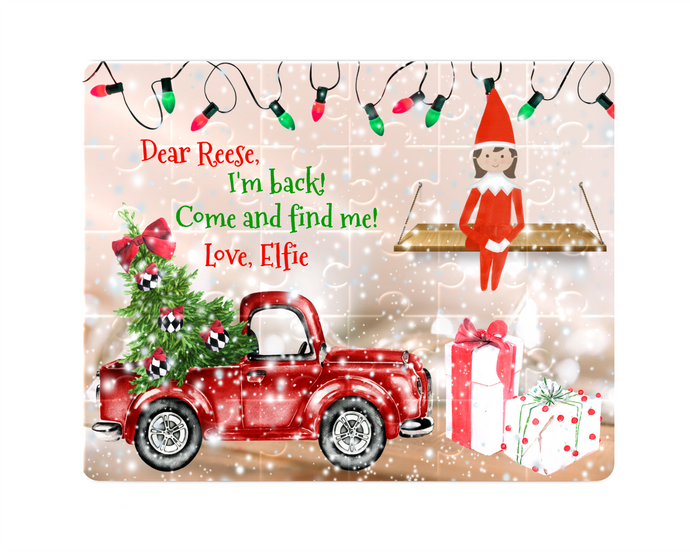 Christmas Elf Puzzle, Red Truck with Christmas Lights, Children's Custom Puzzle, Personalized Puzzle, Kid Gift, Name Puzzle, Educational