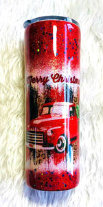 Red Christmas Truck Holographic Glitter Tumbler