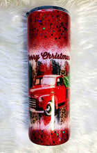 Load image into Gallery viewer, Red Christmas Truck Holographic Glitter Tumbler