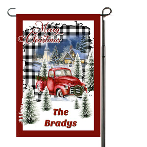 Red Christmas Truck Plaid Garden Flag, Personalized Garden Flag, Christmas Garden Flag, Family Gift, Custom Garden Flag, Christmas Decor