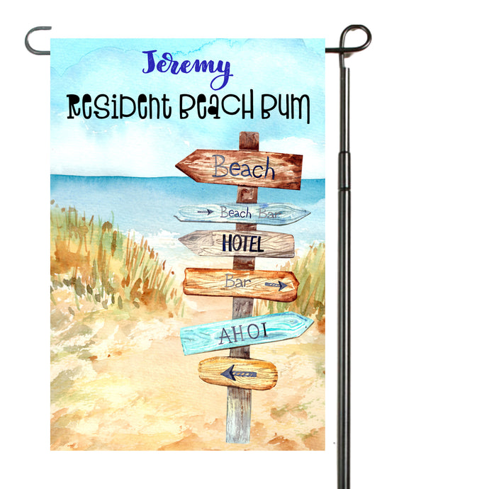 Beach Bum Garden Flag, Personalized, Garden Flag, Beach Garden Flag, Beach Gift, Beach Flag, Yard Decoration, Beach House Decor, Beach Lover