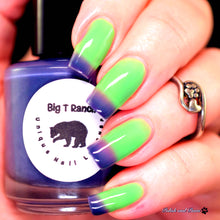 "Load image into Gallery viewer, Color Changing and Glow Thermal Nail Polish - Ombre Purple/Green/Blue- Glows Aqua - ""Royal Gorge""- Gift for Her - Girlfriend Gift"