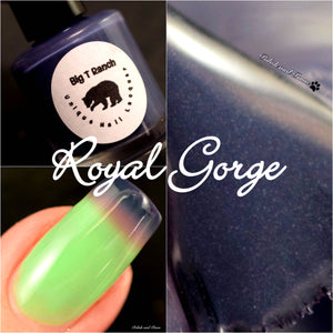 "Color Changing and Glow Thermal Nail Polish - Ombre Purple/Green/Blue- Glows Aqua - ""Royal Gorge""- Gift for Her - Girlfriend Gift"