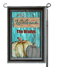 Load image into Gallery viewer, Rusty Tin Pumpkin Garden Flag, Personalized, Fall Garden Flag, Autumn Garden Flag, Fall Decor, Fall Yard Decor, Pumpkin Flag, Name Flag