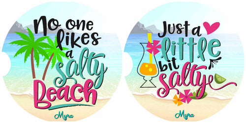 Salty Beach Personalized Car Coasters Set of 2 - Customized - Beach, Ocean, Water - 2 Designs - Gift for Mom - Custom Gift - Car Accessories