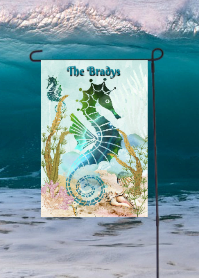 Seahorses Ocean Garden Flag, Personalized, Garden Flag, Name Garden Flag, Ocean Decor, Seahorse Flag, Yard Decor, Yard Decoration, Beach