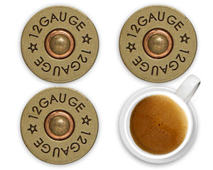Shotgun Shell 12 Gauge Ceramic Coasters, Set of 4, Bullet Coaster, Coaster, Coasters for Men, Hunting Coaster, Couples Gift, Gift for Man