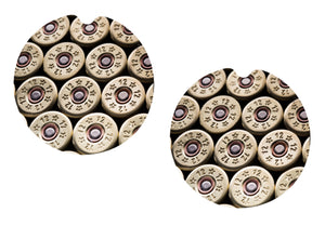 Shotgun Shells 12 Gauge Ceramic Car Coasters, Set of 2, Bullet Car Coaster, Sandstone Car Coaster, Car Coasters for Men, Hunting Coaster