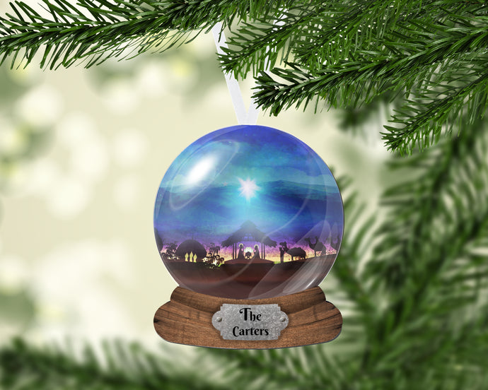 Personalized Snow Globe Nativity Christmas Ornament, Name Ornament, Custom Christmas Holiday, Gift for Mom, Grandma Gift, Family Gift