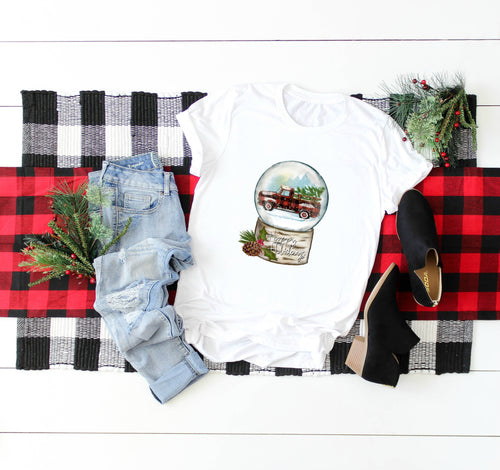 Red Buffalo Plaid Christmas Truck Sublimation Transfer Ready to Press, Snow Globe, Happy Holidays, Printed Sub Transfer, DIY Sublimation
