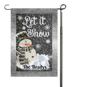 Snowman Let it Snow Garden Flag, Personalized Garden Flag, Christmas Garden Flag, Family Gift, Custom Garden Flag, snowmen, Christmas Decor