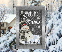 Load image into Gallery viewer, Snowman Let it Snow Garden Flag, Personalized Garden Flag, Christmas Garden Flag, Family Gift, Custom Garden Flag, snowmen, Christmas Decor