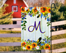 Load image into Gallery viewer, Sunflower Monogram Garden Flag, Sunflowers, Name Garden Flag, Sunflower Decor, Sunflower Flag, Yard Decor, Yard Decoration, Fall Flag