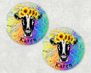 Cow Sunflower Personalized Car Coasters, Flower Coaster, Cow, Cows, Name Coasters, Personalized Coaster, Sandstone Coasters, Set of 2