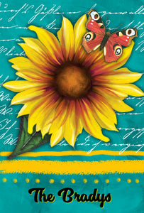 Sunflower Garden Flag, Personalized, Teal and Yellow, Garden Flag, Name Garden Flag, Sunflower Decor, Sunflower Flag, Yard Decoration