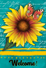 Load image into Gallery viewer, Sunflower Garden Flag, Personalized, Teal and Yellow, Garden Flag, Name Garden Flag, Sunflower Decor, Sunflower Flag, Yard Decoration