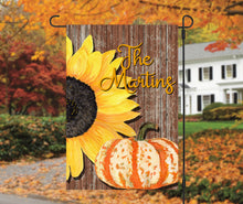Load image into Gallery viewer, Sunflower Pumpkin Fall Garden Flag, Personalized, Autumn Garden Flag, Sunflower Garden Flag, Fall Decor, Fall Yard Decor, Pumpkin Decoration