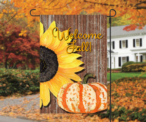 Sunflower Pumpkin Fall Garden Flag, Personalized, Autumn Garden Flag, Sunflower Garden Flag, Fall Decor, Fall Yard Decor, Pumpkin Decoration