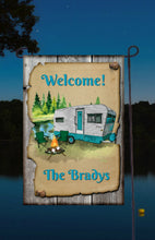 Load image into Gallery viewer, Camping Garden Flag, Camper Garden Flag, You Choose Any Wording, Personalized, Name Garden Flag, Camper Decor, Camping Flag, Yard Decoration, Camper Decor