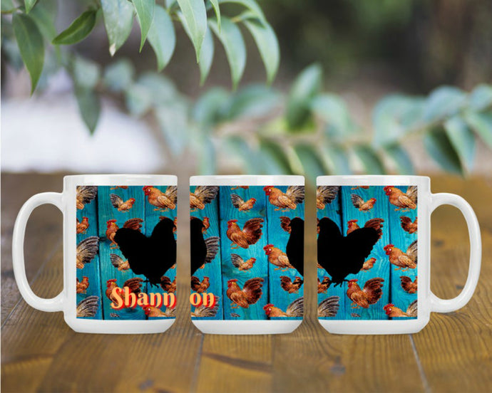 Chicken Personalized Coffee Mug, Chicken Cup, Chicken Gift, Chicken Lover Gift, Custom Name Mug, Chicken Decor, Chickens, Farmhouse Mug