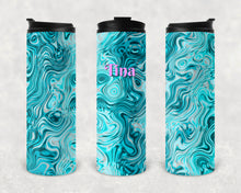 Load image into Gallery viewer, Teal Oils and Water Personalized Vinyl Wrap Epoxy Tumbler, Teal Swirl, Mom Gift, Travel Cup, Name Tumbler, Custom Tumbler, Oil Slick, 17 oz