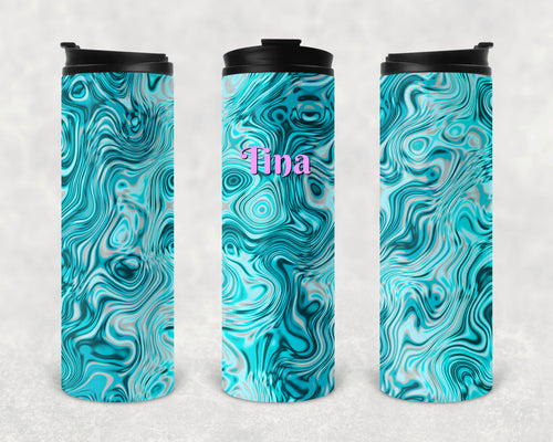 Teal Oils and Water Personalized Vinyl Wrap Epoxy Tumbler, Teal Swirl, Mom Gift, Travel Cup, Name Tumbler, Custom Tumbler, Oil Slick, 17 oz