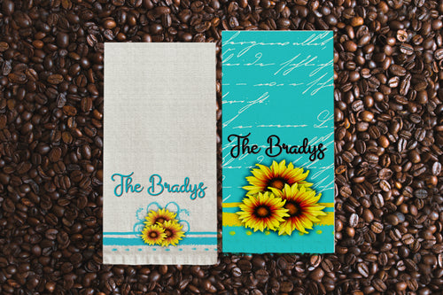 Sunflower and Teal Kitchen Towel Personalized, Gifts for Mom, Sunflower Gift. Housewarming Gift, Hostess Gift, Wedding Gift, Tea Towel