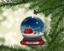 Load image into Gallery viewer, Tent Camping Snow Globe Christmas Ornament, Personalized Ornament, Custom Christmas Holiday, Name Ornament, Gift for Family, Couples Gift