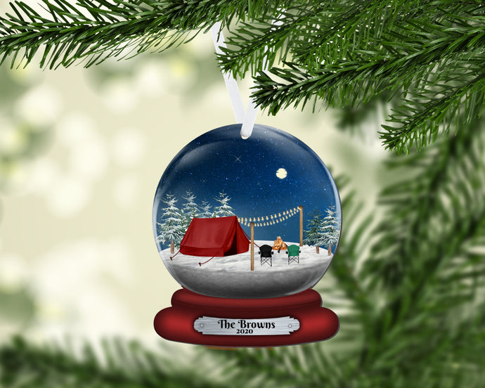 Tent Camping Snow Globe Christmas Ornament, Personalized Ornament, Custom Christmas Holiday, Name Ornament, Gift for Family, Couples Gift