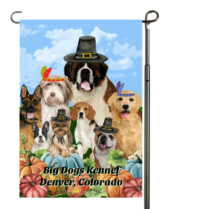 Thanksgiving Dogs Garden Flag, Personalized, Fall Garden Flag, Autumn Garden Flag, Fall Decor, Fall Yard Decor, Custom Garden Flag