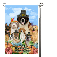 Load image into Gallery viewer, Thanksgiving Dogs Garden Flag, Personalized, Fall Garden Flag, Autumn Garden Flag, Fall Decor, Fall Yard Decor, Custom Garden Flag