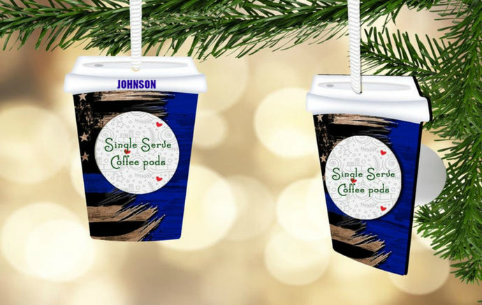 Thin Blue To Go Cup Coffee Pod Ornament, Personalized, Police Gift, First Responder Gift, Back the Blue, Police Ornament