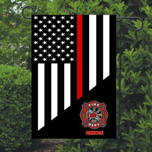 Load image into Gallery viewer, Firefighter Thin Red Line Garden Flag, Personalized, Garden Flag, Name Garden Flag, Firefighter Decor, Yard Decoration, Gift for Man