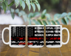 Personalized Thin Red Line American Flag Custom Name Coffee Mug, Support Fire Fighters, First Responders Gift, Fireman Gift, Firefighter