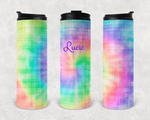 Tie Dye Personalized Vinyl Wrap Epoxy Tumbler, Retro, Hippie Gift, Tie Dye Tumbler, Mom Gift, Travel Cup, Custom Tumbler, Rainbow, 17 oz