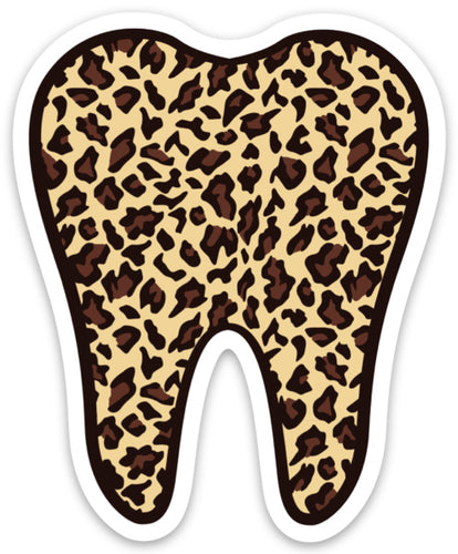Leopard Tooth Sticker, Tooth Laptop Sticker, Water Bottle Sticker, Cheetah Tooth Sticker, Tumbler Sticker, Dental Assistant Sticker, Dentist
